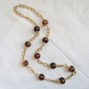 Talbots Necklace Gold Tone Round Faux Amber Beads